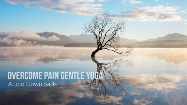 "Calm, soothing landscape with blue skies and a wisened tree and the title ""Overcome Pain with Gentle Yoga Audio Downloads"""
